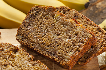 Homemade Banana Nut Bread Cut into Slices